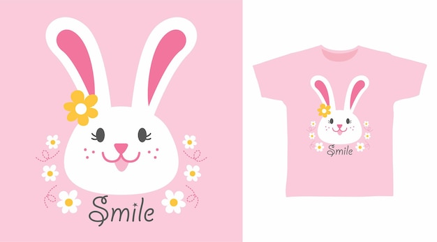 Cute rabbit smile flower tshirt design