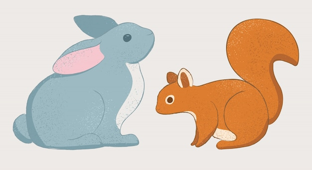 Cute rabbit and squirel