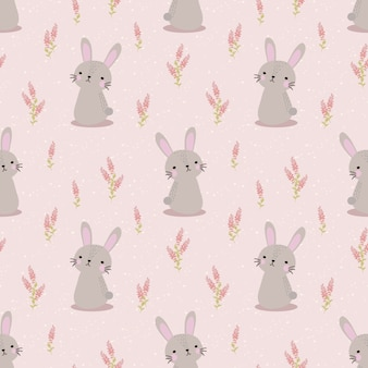 Cute rabbit and sweet flower seamless pattern