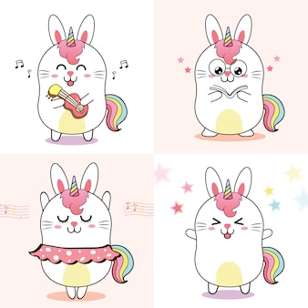 Cute rabbit unicorn, sweet cartoon for kid