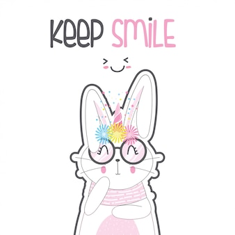 Cute rabbit unicorn with glasses