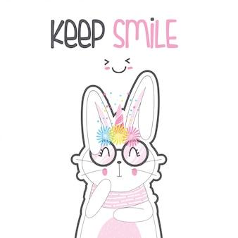 Милый кролик единорог в очках