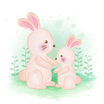 Cute rabbit water color illustration .
