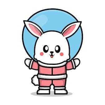 宇宙飛行士のスーツのイラストを身に着けているかわいいウサギ