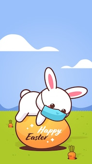 Cute rabbit wearing face mask to prevent coronavirus happy easter bunny lying on egg sticker
