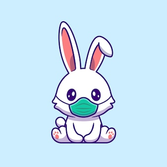Cute rabbit wearing mask cartoon   icon illustration. animal healthy icon concept isolated  . flat cartoon style