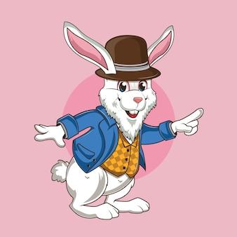귀여운 갈색 모자와 귀여운 토끼