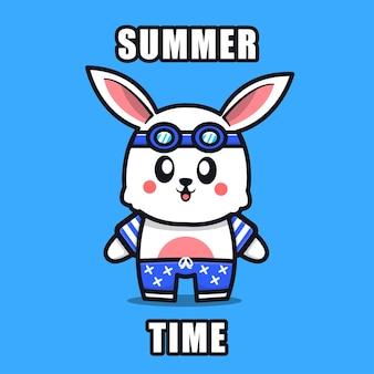 여름 테마 일러스트 동물 여름 컨셉과 귀여운 토끼
