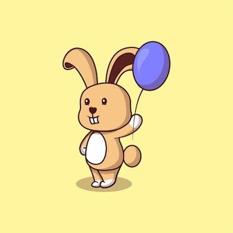 風船漫画イラストとかわいいウサギ