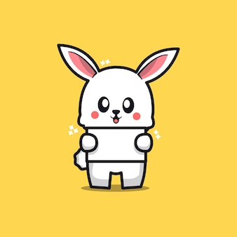 Cute rabbit with blank text