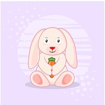 Милый кролик с морковью значок иллюстрации. значок концепции изолированы. плоский мультяшный стиль