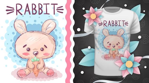 Милый кролик с морковкой - идея для футболки с принтом