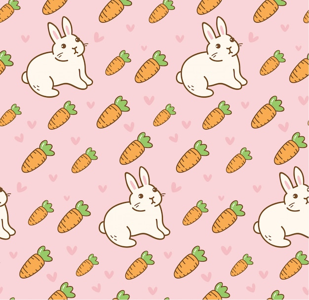 Cute rabbit with carrot seamless pattern