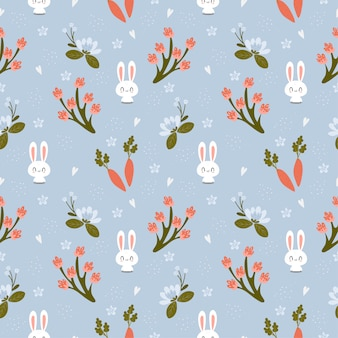 Cute rabbit with carrot and variety flower seamless pattern