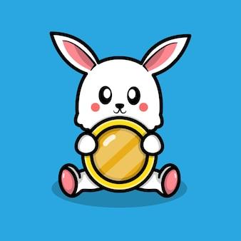 동전 일러스트와 함께 귀여운 토끼