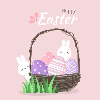 Cute rabbit with colorful easter eggs in basket.