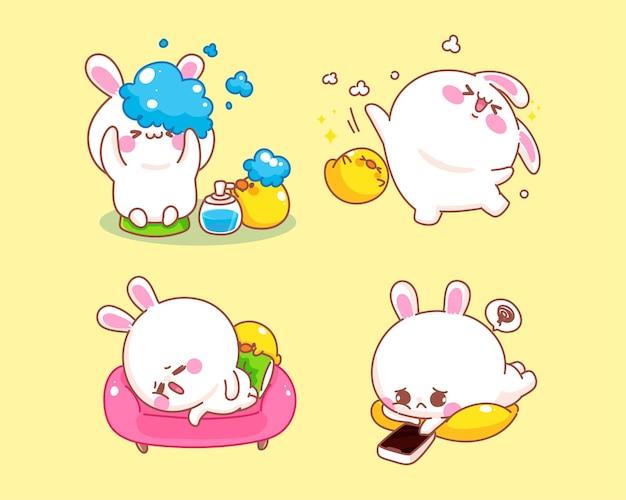 집에서 활동을하는 오리와 귀여운 토끼 만화 일러스트 레이션