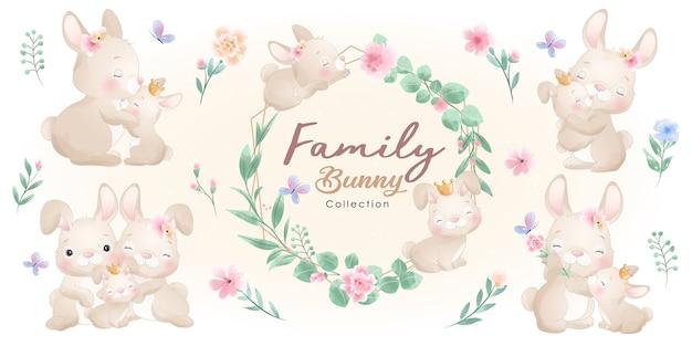 花のコレクションとかわいいウサギ