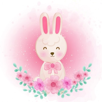 Cute rabbit with floral.