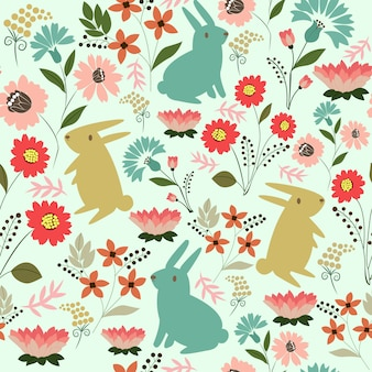 Cute rabbit with flower pattern