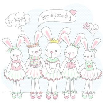 Симпатичный кролик с друзьями