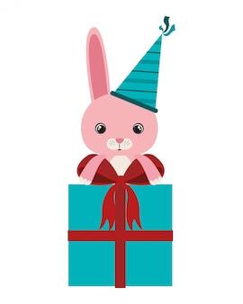 선물 상자와 함께 귀여운 토끼
