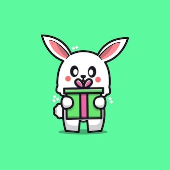 Cute rabbit with gift cartoon   illustration