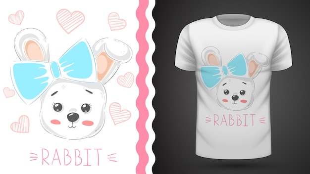Cute rabbit with heart - idea for print t-shirt
