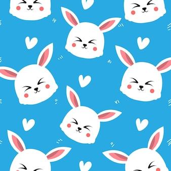 Милый кролик с сердцем бесшовные модели