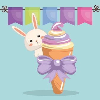 Cute rabbit with ice-cream kawaii birthday card
