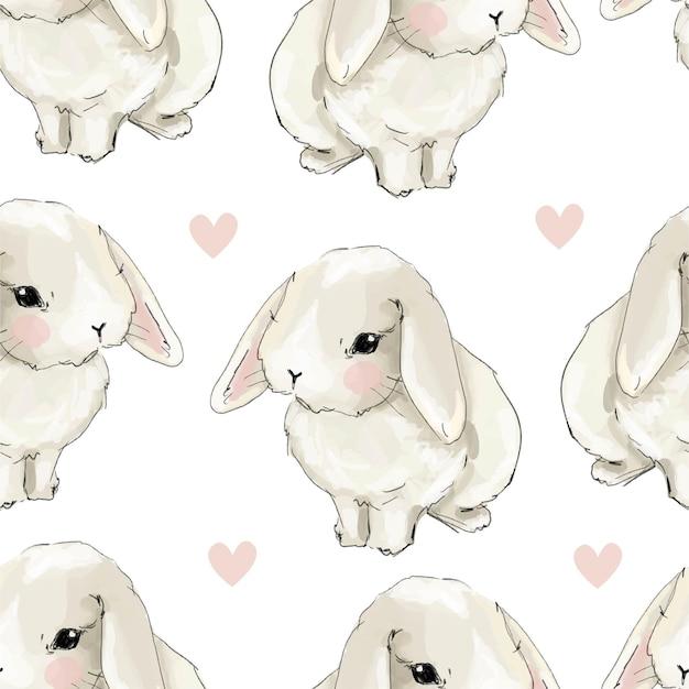 Милый кролик с розовыми сердечками бесшовный фон