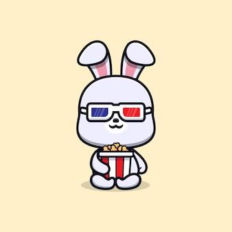 팝콘과 영화 동물 마스코트 캐릭터를 보는 귀여운 토끼