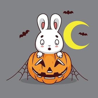 カボチャの漫画イラストとかわいいウサギ