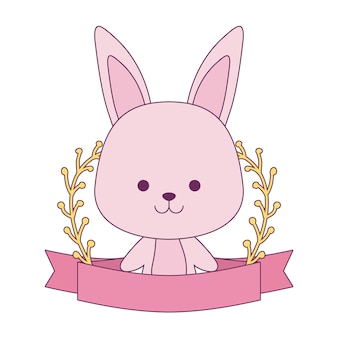 Cute rabbit with ribbon and branches of leafs