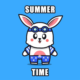 Cute rabbit with a summer theme   illustration animal summer concept