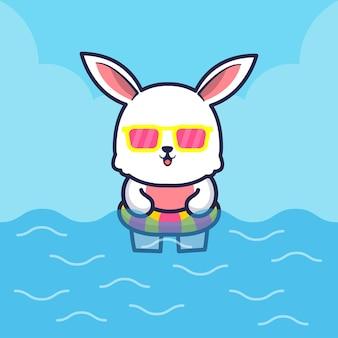 Cute rabbit with swim ring cartoon illustration