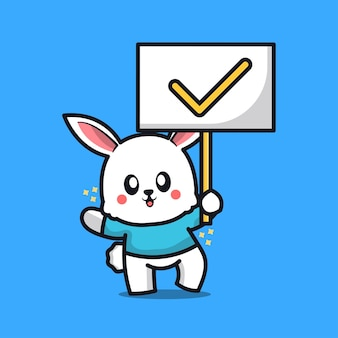 Cute rabbit with true sign