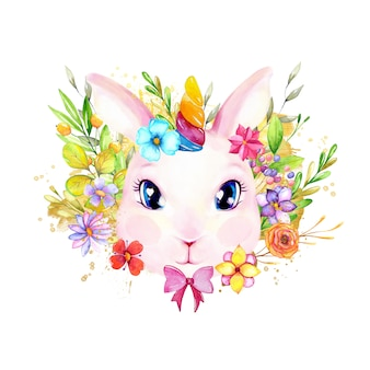 Cute rabbit with watercolor flowers