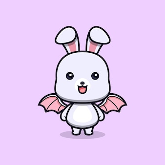 Cute rabbit with wing animal mascot character