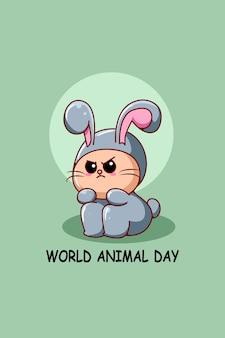 Cute rabbit in world animal day cartoon illustration
