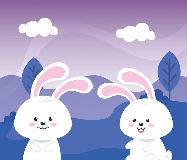 풍경 자연 벡터 일러스트 레이 션 디자인에 귀여운 토끼 동물