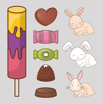 Cute rabbits and candies