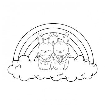 Cute rabbits in the clouds with rainbow woodland character