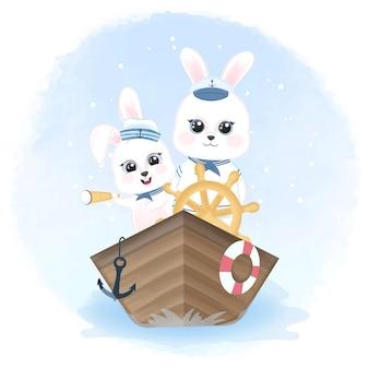Cute rabbits sailor driving boat hand drawn illustration