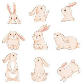 さまざまな面白いポーズでピンクの耳を持つかわいいウサギ。イースターデザインのキャラクター。手作りの水彩画の模倣。白い背景で隔離。