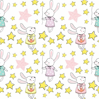 Cute rabbits with stars