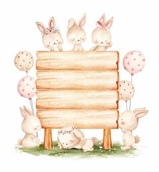 木製サイン水彩イラストとかわいいウサギ
