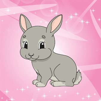 Cute rabit on shiny pink