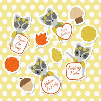 Cute raccoon and flowers suitable for kid sticker set