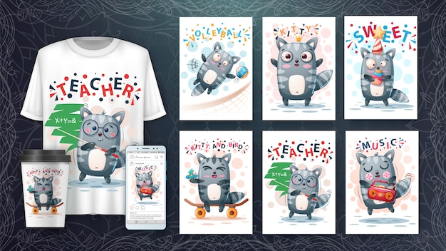 Cute raccoon animal illustration card set and merchandising.